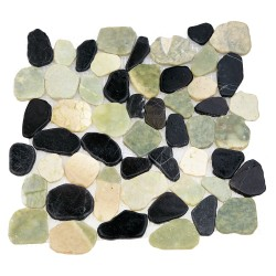 Каменная мозаика MS-WB2 МРАМОР зелёно-белый квадратный