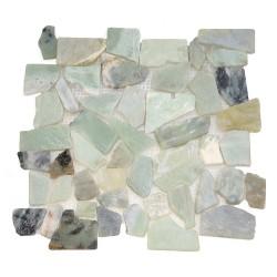 Каменная мозаика MS-WB1 МРАМОР бел/зел/серый круглый
