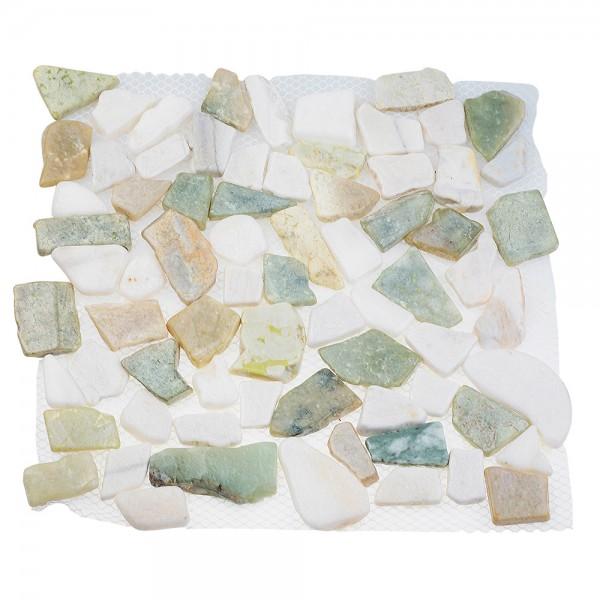 Каменная мозаика MS-WB3 МРАМОР бело-зелёный квадратный